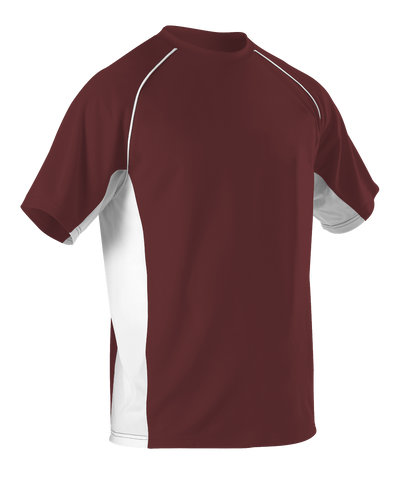 Alleson 506C1Y Youth Baseball Jersey Crew Neck - Maroon White - Baseball Apparel - Hit A Double