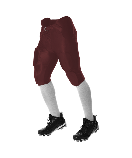 Alleson 688DY Youth Solo Series Integrated Football Pant - Maroon - Football - Hit A Double