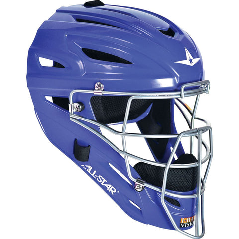 All-Star Adult System 7 Catcher's Helmet - Royal - Baseball Gloves - Hit A Double