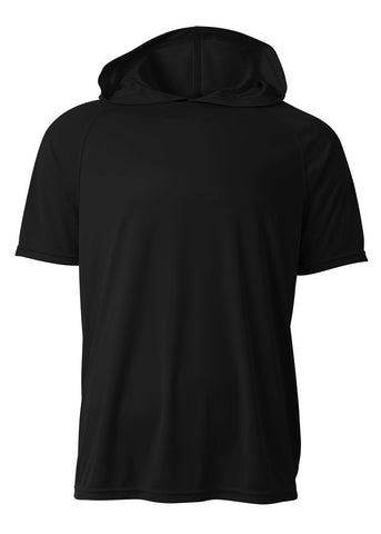 A4 N3408 Short Sleeve Hooded Tee - Black - HIT A Double