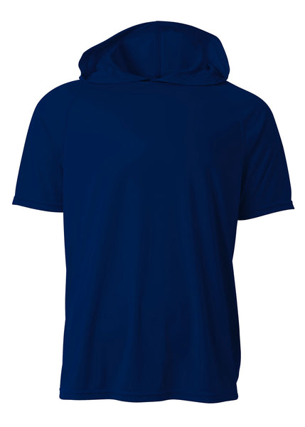 A4 N3408 Short Sleeve Hooded Tee - Navy - HIT A Double