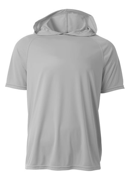 A4 N3408 Short Sleeve Hooded Tee - Silver - HIT A Double