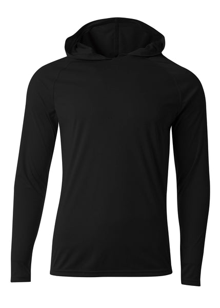 A4 N3409 Long Sleeve Hooded Tee - Black - HIT A Double