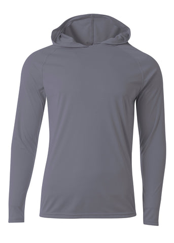 A4 N3409 Long Sleeve Hooded Tee - Graphite - HIT A Double