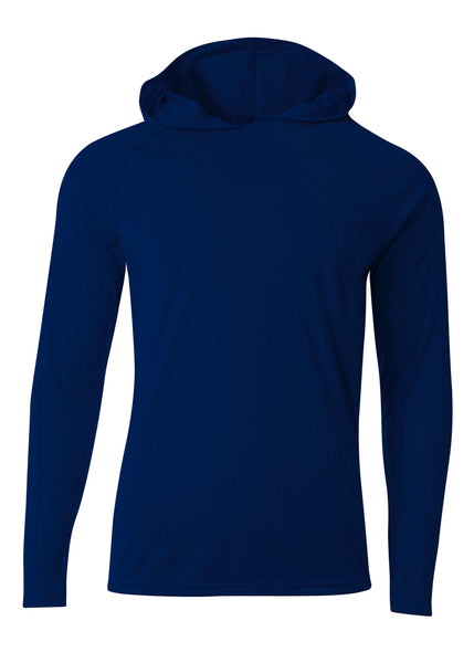 A4 N3409 Long Sleeve Hooded Tee - Navy - HIT A Double
