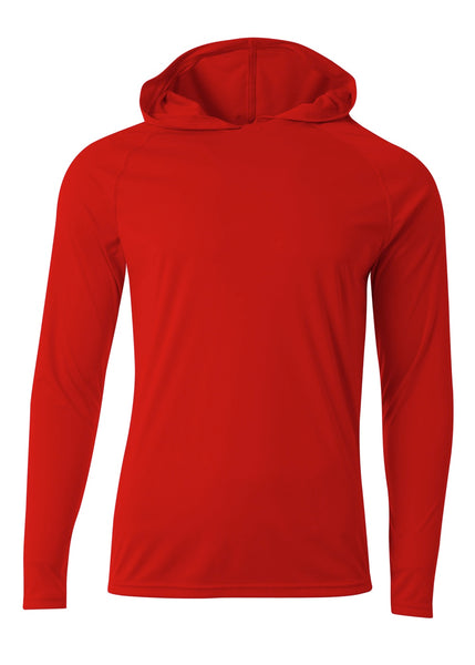A4 N3409 Long Sleeve Hooded Tee - Scarlet - HIT A Double