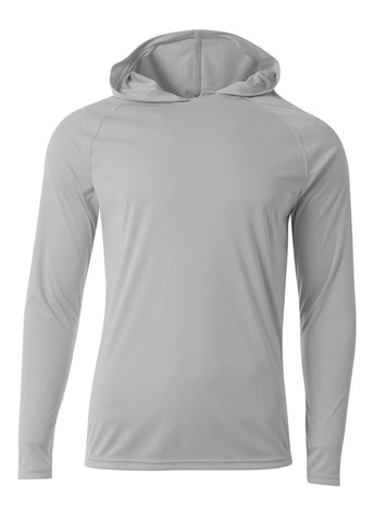 A4 N3409 Long Sleeve Hooded Tee - Silver - HIT A Double
