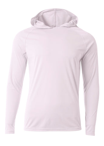 A4 N3409 Long Sleeve Hooded Tee - White - HIT A Double