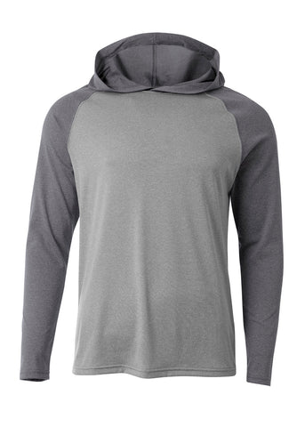 A4 N3416 Topflight Hooded Long Sleeve Tee - Heather Charcoal Heather - HIT A Double