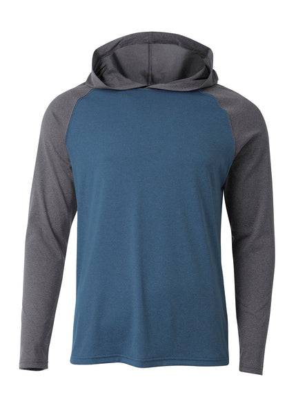 A4 N3416 Topflight Hooded Long Sleeve Tee - Navy Charcoal Heather - HIT A Double