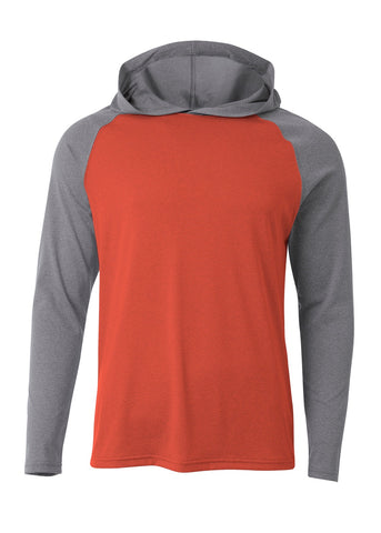 A4 N3416 Topflight Hooded Long Sleeve Tee - Scarlet Heather - HIT A Double