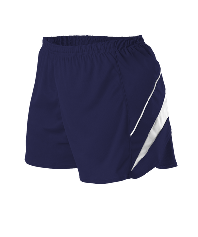 Alleson R1LFPW Women's Loose Fit Track Short - Navy White - Training/Running - Hit A Double