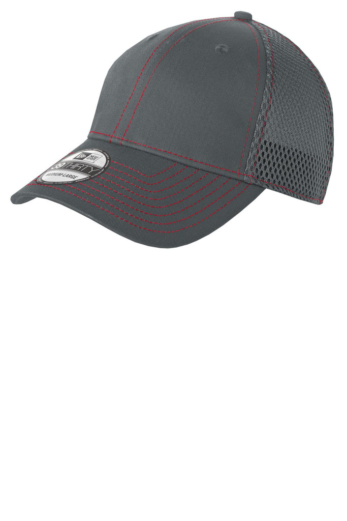 New Era NE1120 - Stretch Mesh Contrast Stitch Cap - Graphite Red - HIT A Double