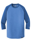 New Era NEA104 Heritage Blend 3/4-Sleeve Baseball Raglan Tee - Royal Royal Heather - HIT A Double