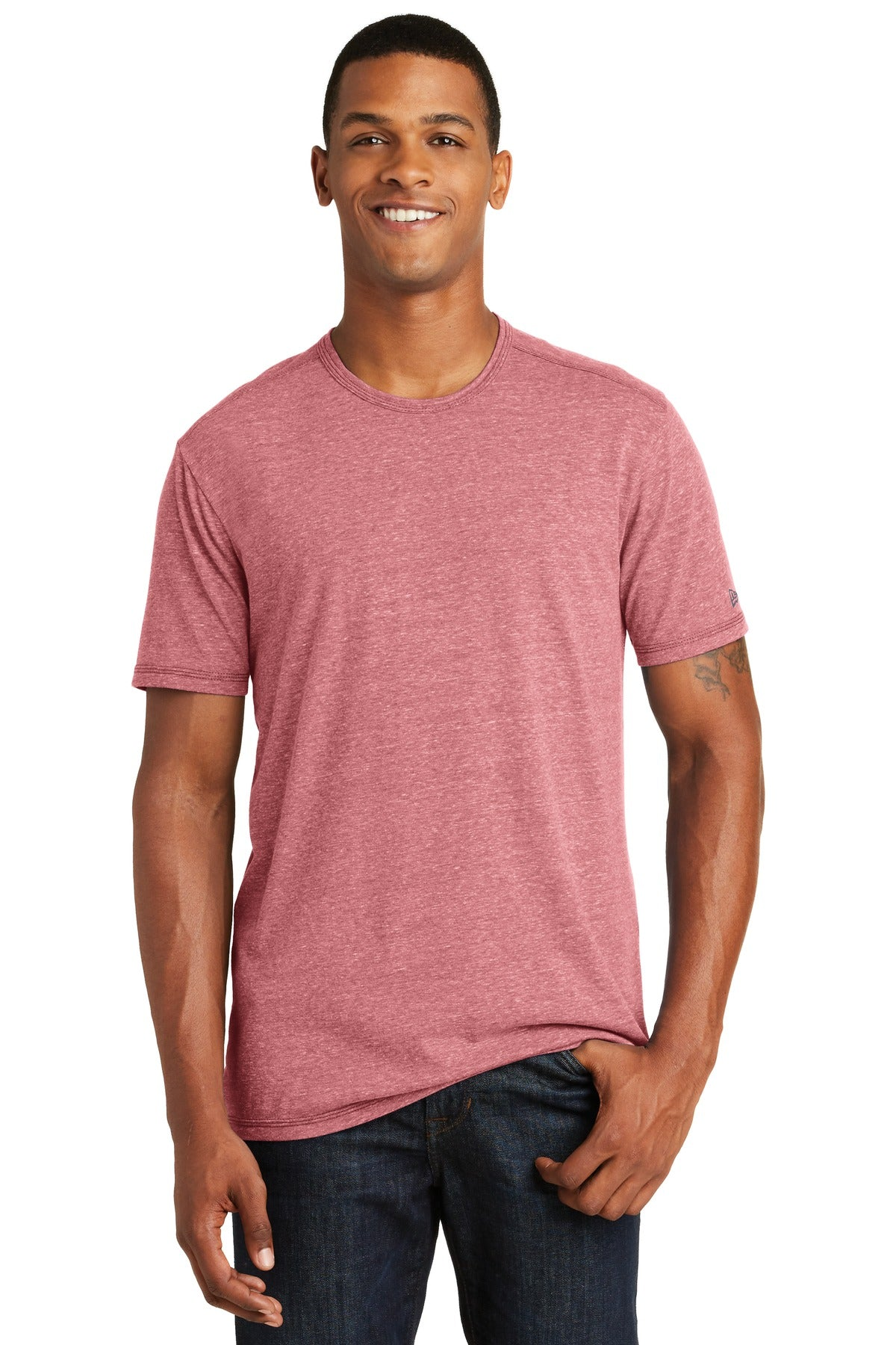 New Era NEA130 Tri-Blend Performance Crew Tee - Crimson - HIT A Double