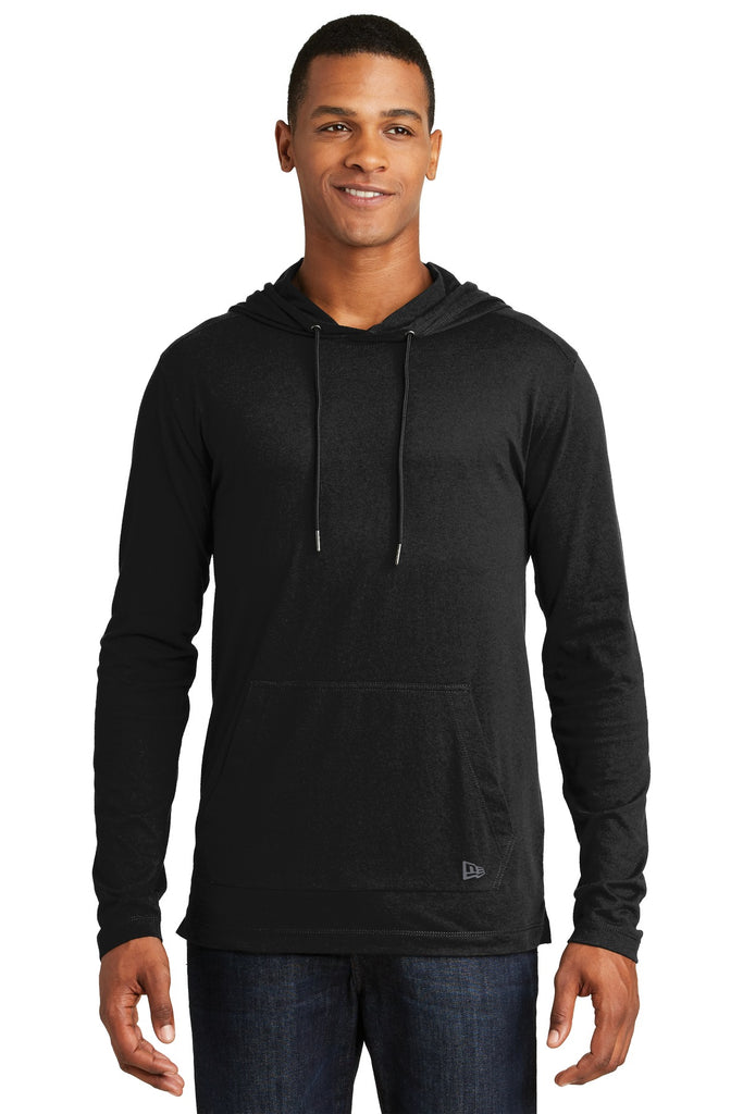 New Era NEA131 Tri-Blend Performance Pullover Hoodie Tee - Black Solid - HIT A Double