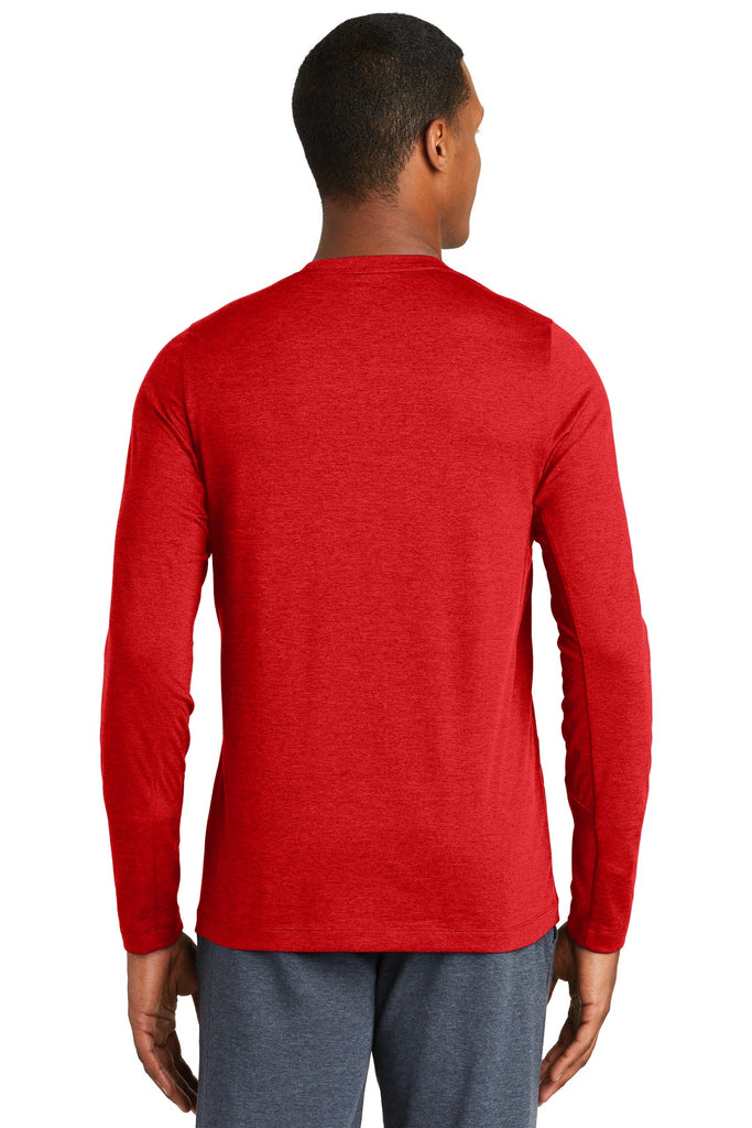 New Era NEA201 Series Performance Long Sleeve Crew Tee - Scarlet - HIT A Double