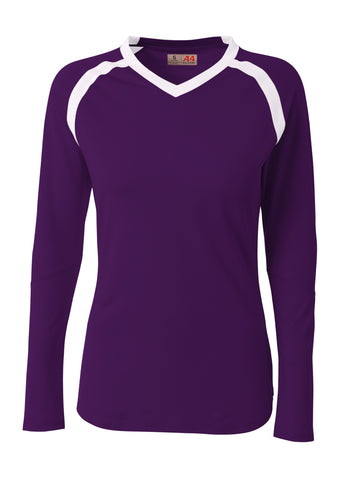 A4 NG3020 The Ace - Long Sleeve Volleyball Jersey - Purple White - HIT A Double