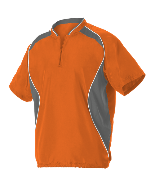Alleson 3JSS13A Adult Short Sleeve Baseball Batters Jacket - Orange Charcoal White