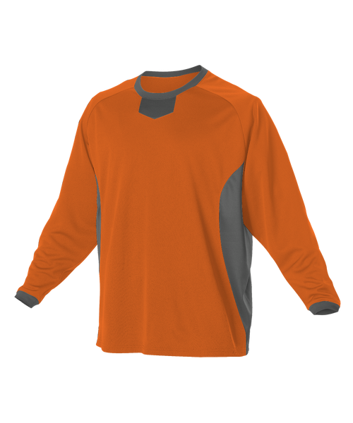 Alleson 598BBLY Youth Long Sleeve Practice Pullover Jersey - Orange Charcoal - Football - Hit A Double
