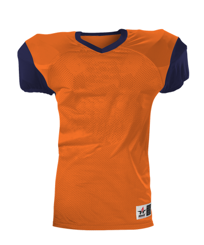 Alleson 751Y Youth Pro Game Football Jersey - Orange Navy - Football - Hit A Double