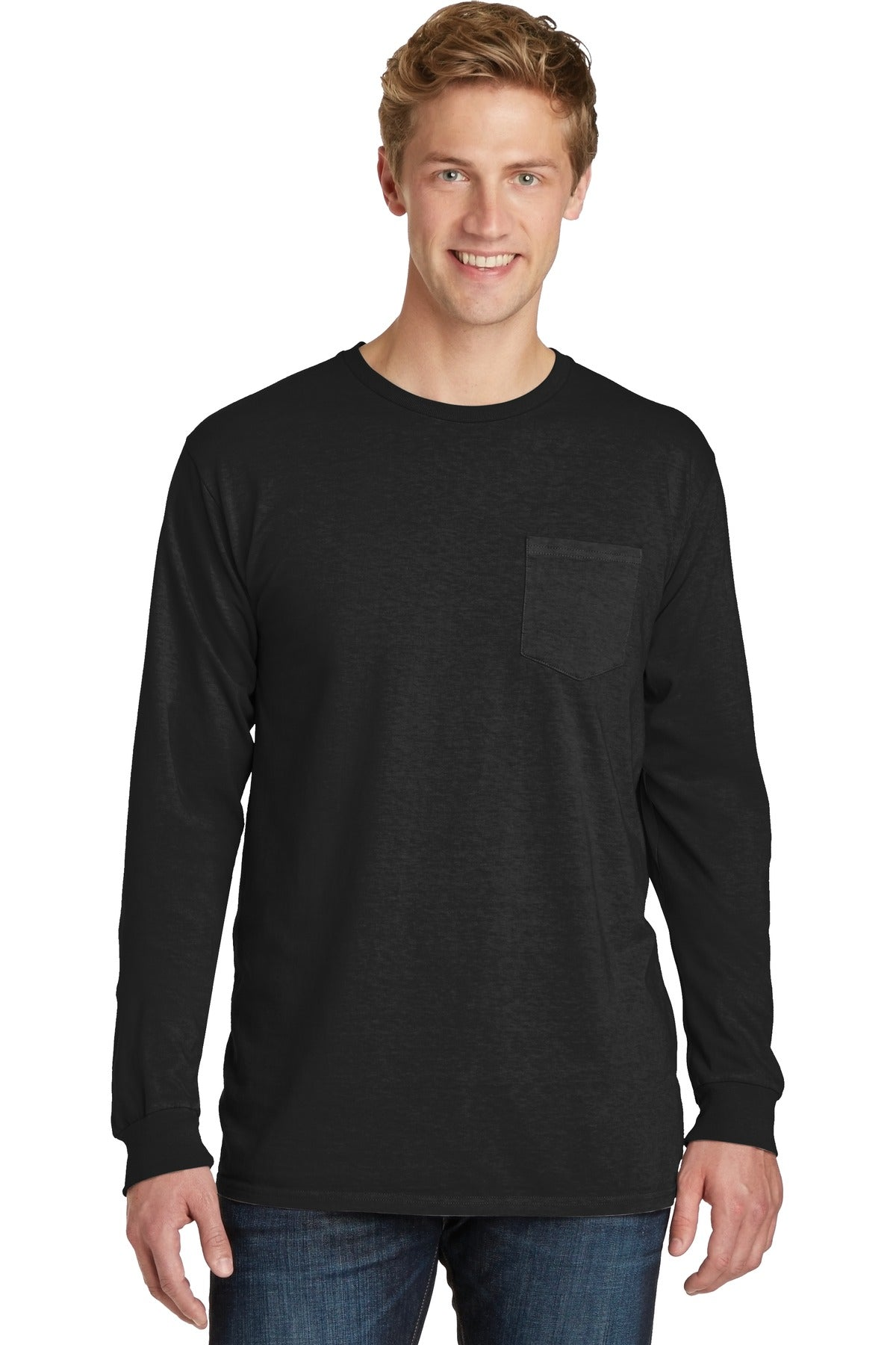 Port & Company PC099LSP Beach Wash Garment-Dyed Long Sleeve Pocket Tee - Black - HIT A Double