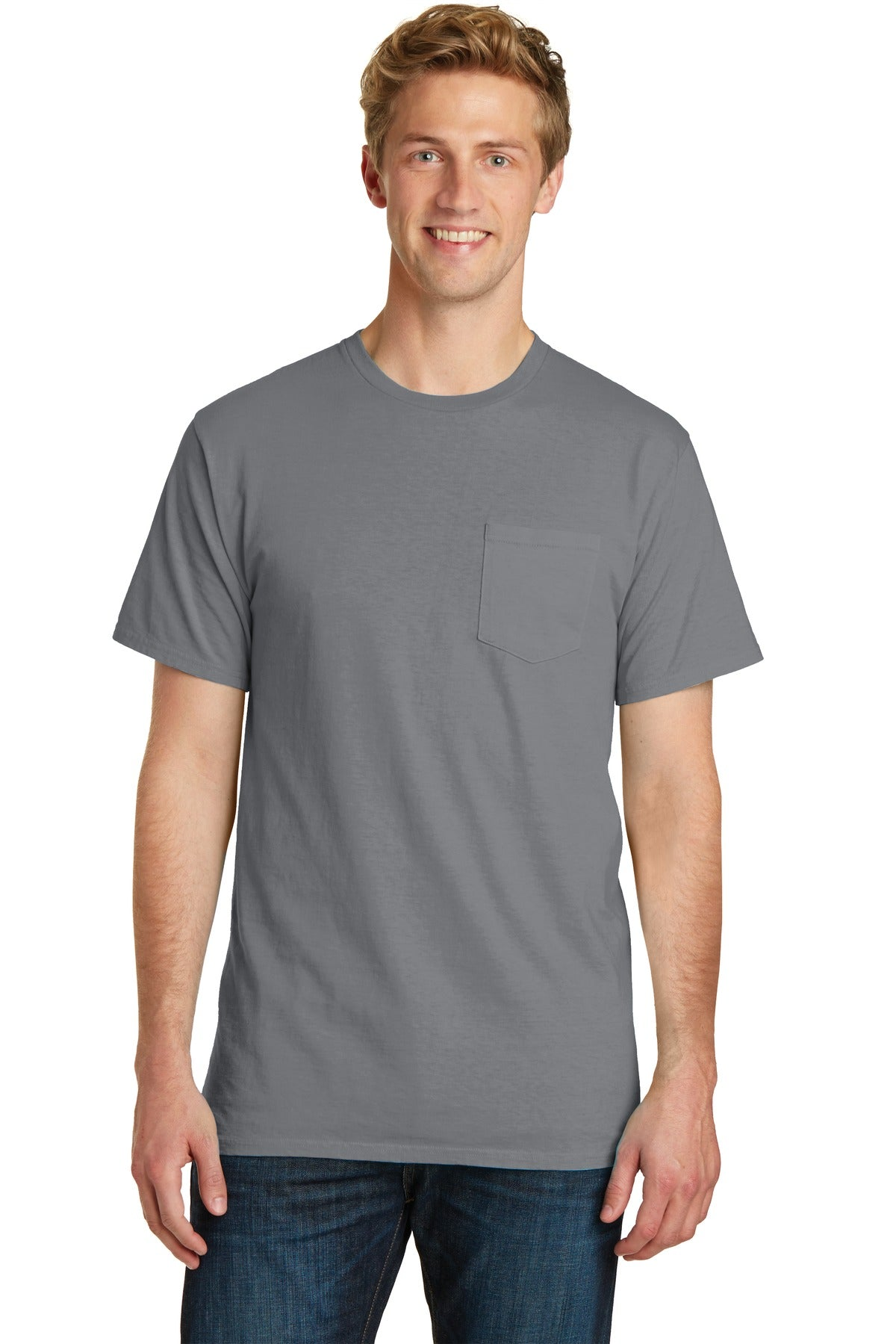 Port & Company PC099P Beach Wash Garment-Dyed Pocket Tee - Pewter - HIT A Double