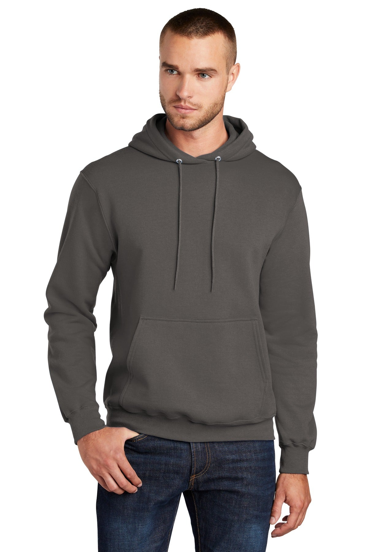 Port & Company PC78HT Tall Core Fleece Pullover Hooded Sweatshirt - Charcoal - HIT A Double