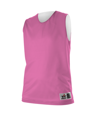 Alleson 560RW Women's Reversible Mesh Tank - Pink White - Basketball - Hit A Double