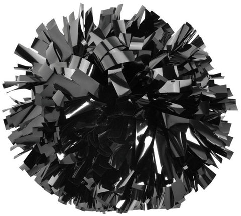 Pizzazz 1 Color Metallic Cheerleaders Poms - Black