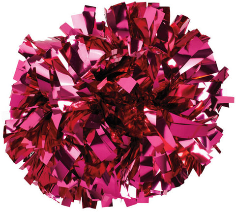 Pizzazz 1 Color Metallic Cheerleaders Poms - Hot Pink