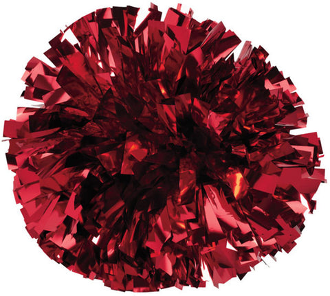 Pizzazz 1 Color Metallic Cheerleaders Poms - Red