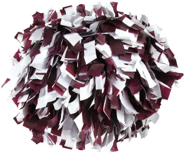 Pizzazz 2 Color Plastic Cheerleaders Poms - Maroon White