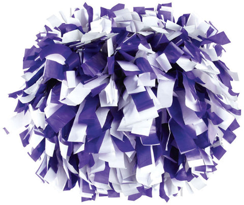 Pizzazz 2 Color Plastic Cheerleaders Poms - Purple White