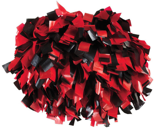 Pizzazz 2 Color Plastic Cheerleaders Poms - Red Black