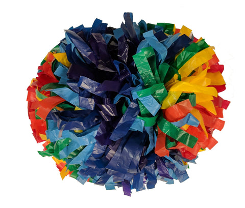 Pizzazz 3 Color Plastic Cheerleaders Poms - Rainbow