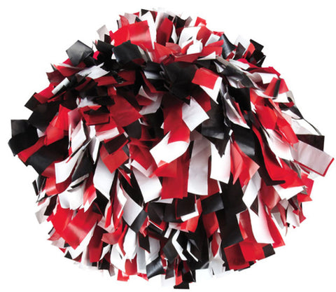 Pizzazz 3 Color Plastic Cheerleaders Poms - Black Red White