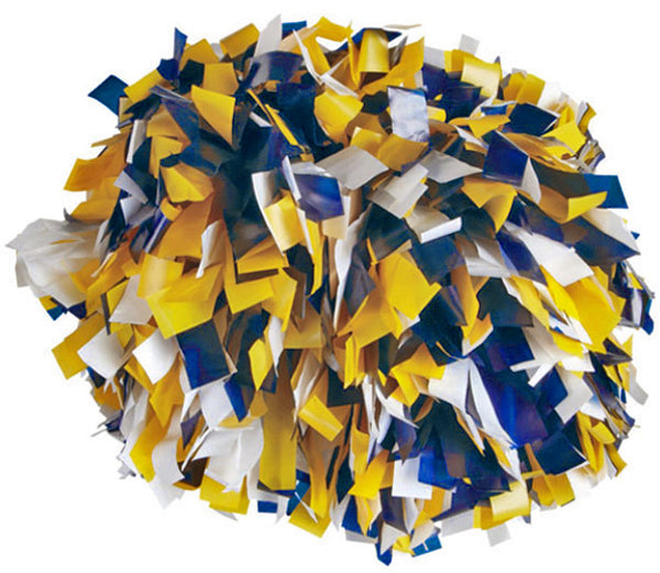 Pizzazz 3 Color Plastic Cheerleaders Poms - Navy Gold White