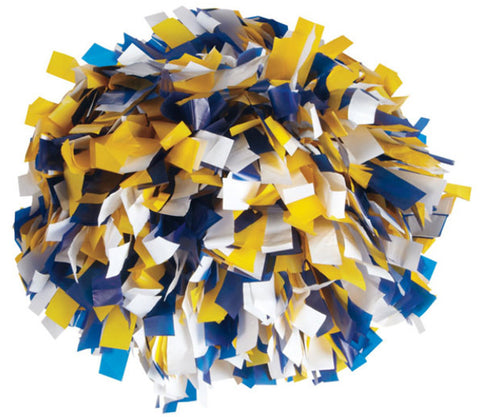 Pizzazz 3 Color Plastic Cheerleaders Poms - Royal Gold White