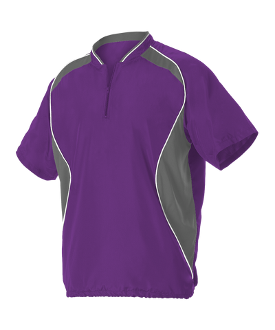 Alleson 3JSS13A Adult Short Sleeve Baseball Batters Jacket - Purple Charcoal White