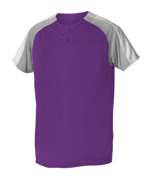 Alleson 5063CHY Youth 2 Button Henley Baseball Jersey - Purple Gray White - Baseball Apparel - Hit A Double