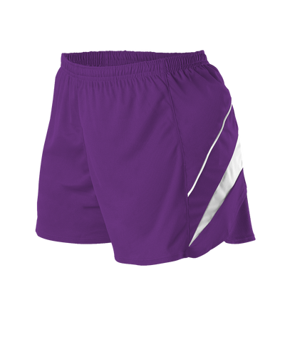 Alleson R1LFPW Women's Loose Fit Track Short - Purple White - Training/Running - Hit A Double