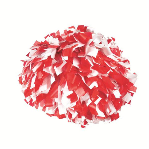 Pizzazz 2 Color Plastic Cheerleaders Poms - Red White