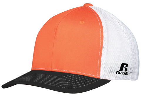 Russell R02TMB Youth Flexfit Twill Mesh Cap - Burnt Orange Black White - HIT A Double