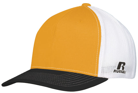 Russell R02TMB Youth Flexfit Twill Mesh Cap - Gold Black White - HIT A Double