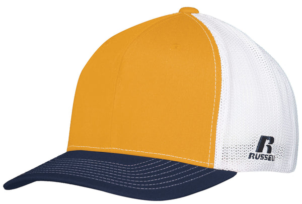 Russell R02TMB Youth Flexfit Twill Mesh Cap - Gold Navy White - HIT A Double