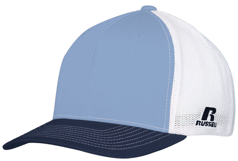 Russell R02TMB Youth Flexfit Twill Mesh Cap - Columbia Blue Navy White - HIT A Double