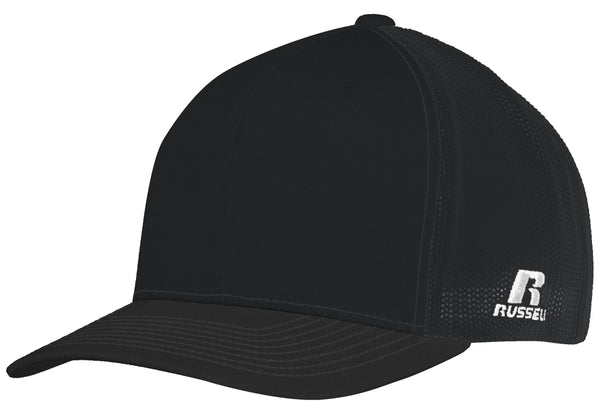 Russell R02TMB Youth Flexfit Twill Mesh Cap - Black - HIT A Double