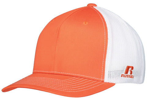Russell R02TMB Youth Flexfit Twill Mesh Cap - Burnt Orange White - HIT A Double