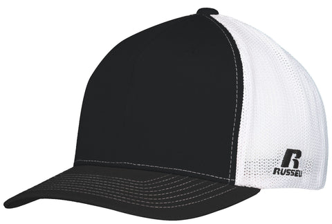 Russell R02TMB Youth Flexfit Twill Mesh Cap - Black White - HIT A Double